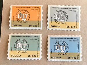 Bolivia stamps 1968 international telecommunications centenary (1965) MNH