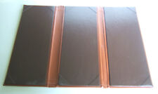 """Brown Padded Leatherette Menu Cover Triple Panel 11 1/4 """"x5"""""""