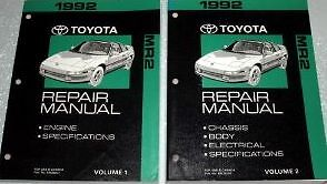 1992 toyota mr2 mr 2 service repair shop workshop manual set 92 rh ebay com 1992 toyota mr2 service manual 1991 Toyota MR2