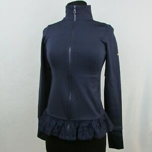 New-Kate-Spade-Active-Zip-Up-Jacket-Lace-Ruffle-Hem-Dark-Blue-After-Hours-XS