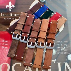 Handmade-Premium-Italian-Calf-Leather-Watch-Straps-18-19-20mm-16-Colour-Combos