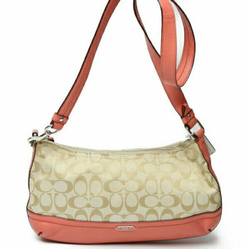 Coach Khaki Salmon Pink Shoulder Bag Ss _26454