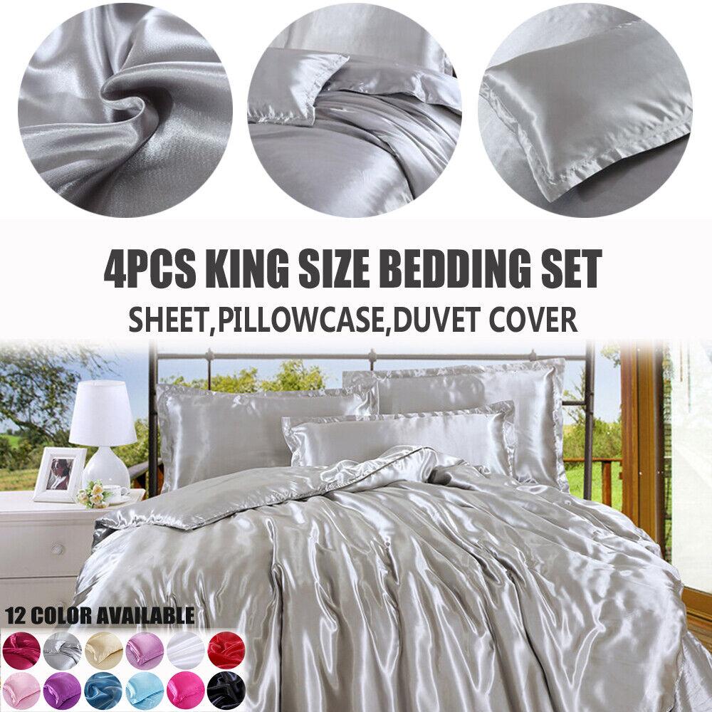 King Size Pure Silk Satin Flat Sheet Duvet Cover Pillowcase Bedding Set
