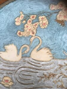 Vintage-INDIAN-Brass-amp-Enamel-Wall-Plate-20cm-Swans-Blue