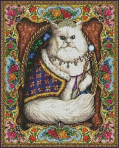 DIY Chart Counted Cross Stitch Patterns Needlework 14 ct Majestic Cat