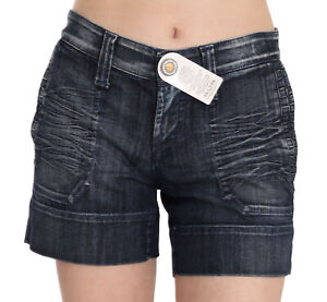 S.O.S. BY ORZA STUDIO Shorts Blue Stretch Cotton Mini s. IT42/US8/M RRP $300