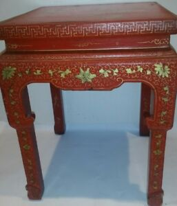 Image Is Loading Antique Chinese Ming Dynasty Painted End Table 1800