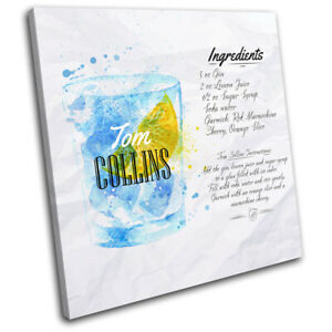 Tom-Collins-Cocktail-Recipe-Bar-Vintage-SINGLE-CANVAS-WALL-ART-Picture-Print