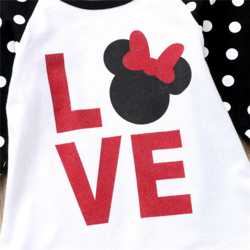 NEW Minnie Mouse Love Girls White Black 3//4 Ruffle Sleeve Shirt Valentines Day