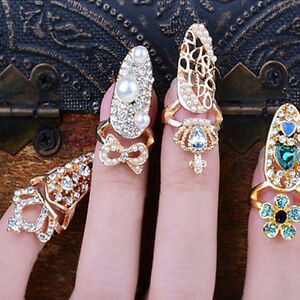 Fashion bowknot crown crystal finger nail art ring jewelry nail image is loading fashion bowknot crown crystal finger nail art ring sciox Image collections