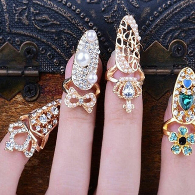 Fashion Bowknot Crown Crystal Finger Nail Art Ring Jewelry Nail Art Finger Rings
