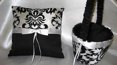 BEAUTIFUL BLACK WHITE DAMASK RING BEARER PILLOW & FLOWER GIRL BASKET SET