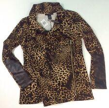 NEW GRACE ELEMENTS Leopard Jacket Size 6 Black Faux Leather Animal Blazer Coat