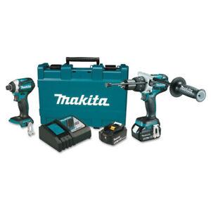 Makita-18V-4-0-Ah-LXT-Li-Ion-Hammer-Drill-amp-Impact-Driver-Kit-XT268M-R-Recon