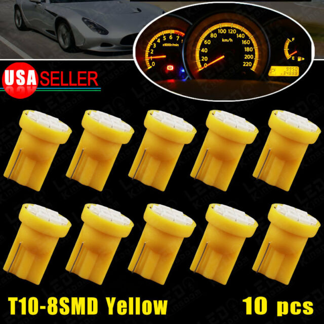 10X Yellow Wedge Side T10 W5W 192 194 168 8SMD LED Bulb Instrument Cluster Light