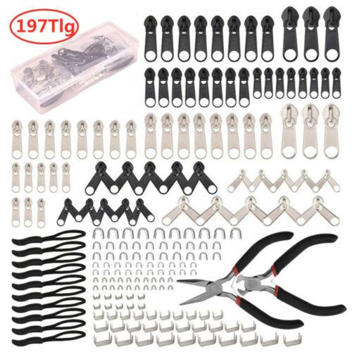 85//197PCS Reißverschluss Reparatur Set Metall Zipper Fixer Kopf Ersatz /& Zange