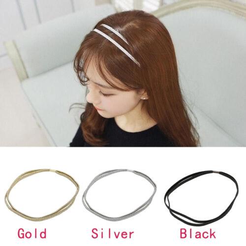 Women Chic Elastic Bling Hair Band Double Braided Glitter Headband Hair HoJB