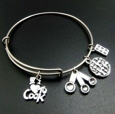 I Love To Cook Spoon & Muffin Pin Charm Bracelets For Women Stainless Steel Wire