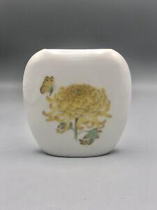 Vintage Takahashi San Francisco Vase Porcelain Chrysanthemum and Butterfly Japan