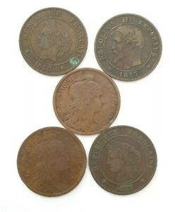 Set 5 Coins 2 Cents France 1857W, 1886,1911, 1883,1916. (AD0807)