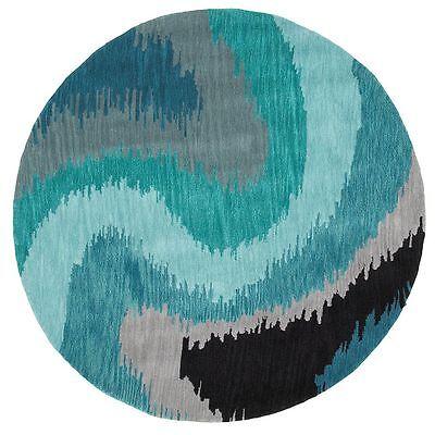 8' Round Designer Contemporary Modern Plush Handmade Blue Area Rug