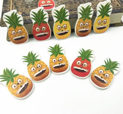 Smiley ananas en Bois Boutons Couture Kid/'s artisanat scrapbooking 4 cm