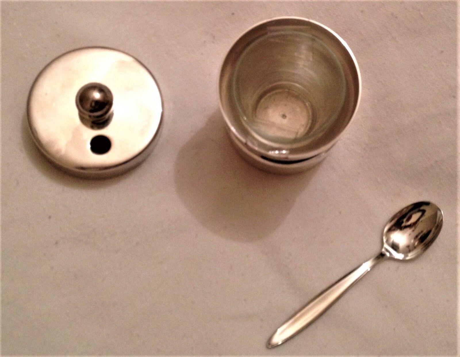 Mostardiera metallo Silberato modello anni anni anni 70 Félix Fratelli (completo) e5ac40
