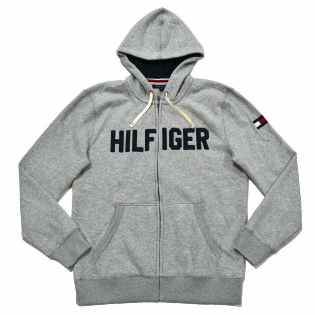 Tommy Hilfiger Mens Hoodie Full Zip Long Sleeve Coat Jacket Pullover Logo New