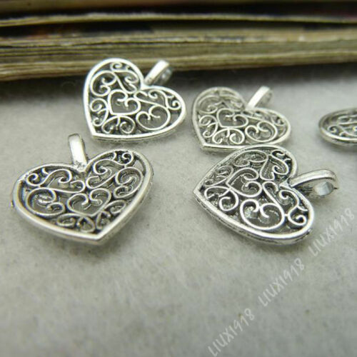 20pc Tibetan Silver Hollow out Peach heart Flowers Pendant Charms Jewelry P312J