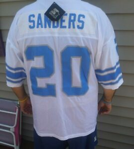 check out 02a48 ffa57 Details about Starter Barry Sanders Jersey Detroit Lions Jersey white  powder blue vintage 90's