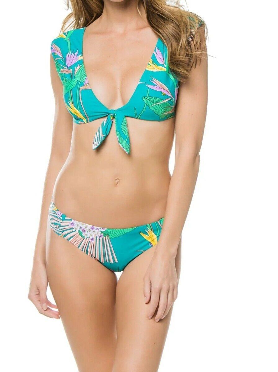 Trina Turk Teal Paradise Imprimé Cap hommeches Ensemble Bikini Taille 10 NEUF