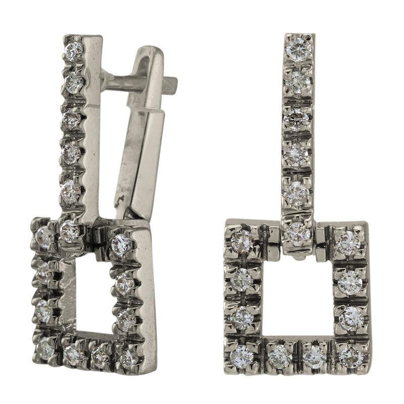 Diamond Earrings Dangling & Swinging With 0.55 Carat Diamonds In 14k White gold