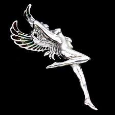 Large Sterling Silver 925 Rainbow Enamel Winged Fairy Brooch