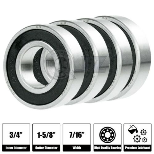 4x SR12-2RS 3//4in x 1-5//8in x 7//16 SR12RS Stainless inch Steel Ball Bearing New
