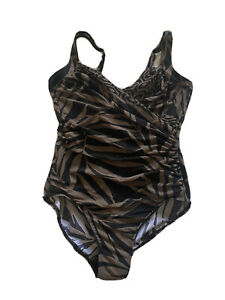Miraclesuit-Size-14-Palm-Leaf-Print-Underwire-Ruched-Adjustable-Straps