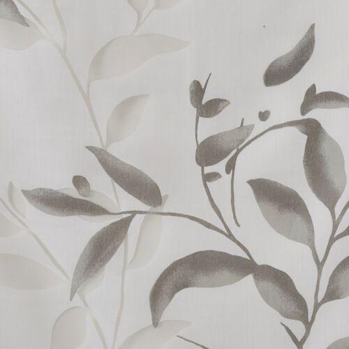 COTTAGE WHITE FLORAL GREY DESIGNER GRAY BOTANICAL SHOWER CURTAIN with LINER