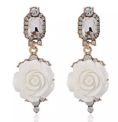 New Fashion Tempt Big Resin Flower Pendant Dangle Geometry Crystal Stud Earring