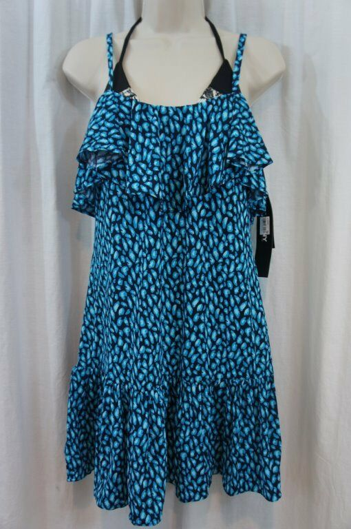 Dkny Natation Haut Taille M Actuel Bleu Multi Convertible VêteHommest Swimcover