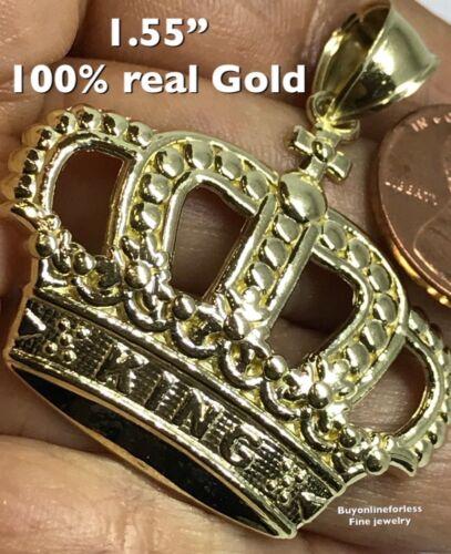 """Gold Crown King Pendentif 10k réel solide jaune Pépite Collier 3D 5.3 G 1.55/"""""""