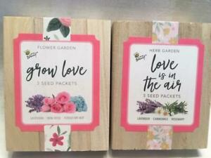 BUZZY Flower & Herb Garden Seed Packs in Keepsake Box Mothers Day Birthday Gift