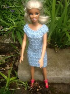 Hand Knitted Doll Clothes For Barbie  Sindy Pretty Baby Blue Rib Dress - <span itemprop='availableAtOrFrom'>Oadby, Leicestershire, United Kingdom</span> - Hand Knitted Doll Clothes For Barbie  Sindy Pretty Baby Blue Rib Dress - Oadby, Leicestershire, United Kingdom