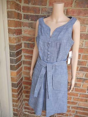 New SHARAGANO Dress Size 10 Stretch Belted $89 Sleeveless Pleat Pockets