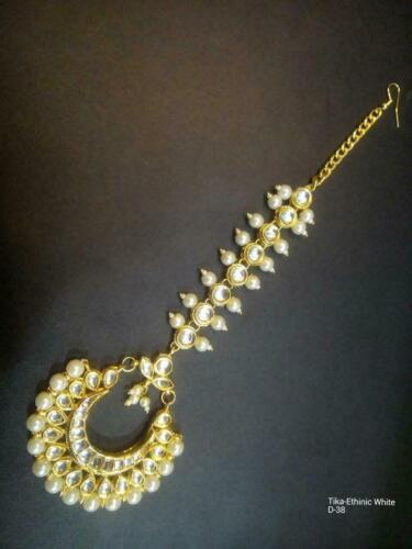 Indian Bollywood Blanc Kundan Pearl Maang Tikka Front Fashion Jewelry Set