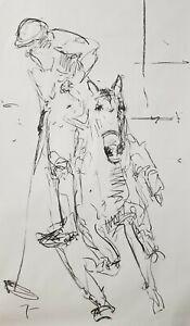 JOSE-TRUJILLO-HUGE-Expressive-CHARCOAL-DRAWING-ORIGINAL-Figurative-Polo-Horse