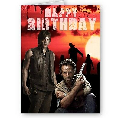 The walking dead birthday cards collection on ebay walking dead rick daryl a5 happy birthday card can be personalised with name m4hsunfo