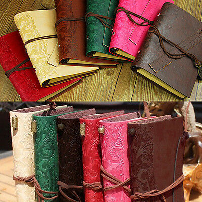 Vintage PU Leather Ruler  Notebook Journal Diary Travel Blank String 6 Colour
