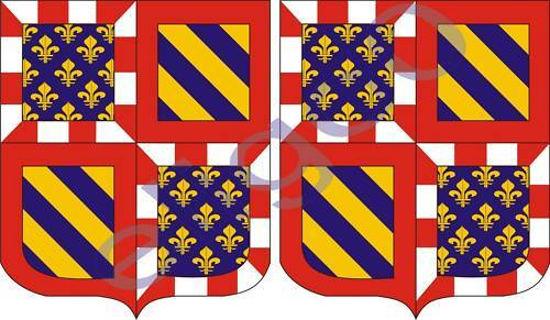 2x bourgogne FRANCE coat of arms bumper stickers decals