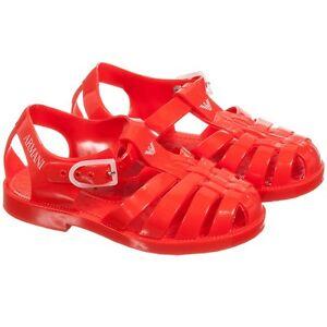 Acheter Pas Cher Neuf Armani Junior Bébé Garçons Filles Rouge Sandales Gelée Logo 20 21 Ou 24