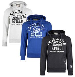 Crosshatch-Mens-Cottonham-Print-Hooded-Sweatshirt-Fleece-Hoodie-Grey-Black-Blue