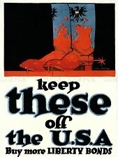 PROPAGANDA WAR USA BOSCH GERMAN BOOTS BLOOD LIBERTY BOND ART POSTER PRINT LV7270